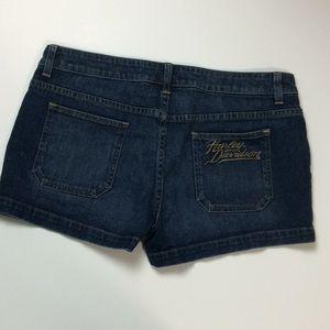Harley Davidson Womens Denim Logo Shorts Sz 12